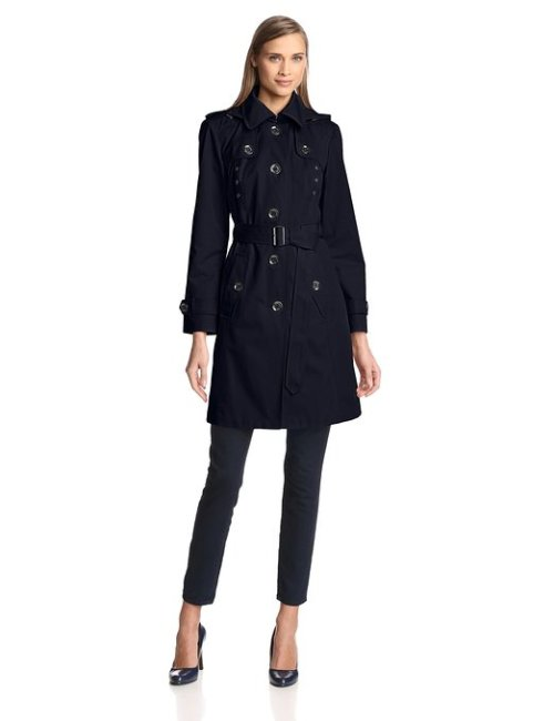 London Fog Heritage Women's Single Breasted Trench Coat with Hood