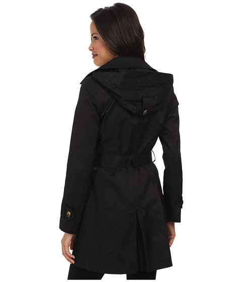 This DKNY Double Breasted Short Hooded Women Trench Coat won't rain on your style!