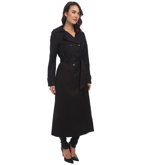 DKNY Long Double-Breasted Hooded Trench