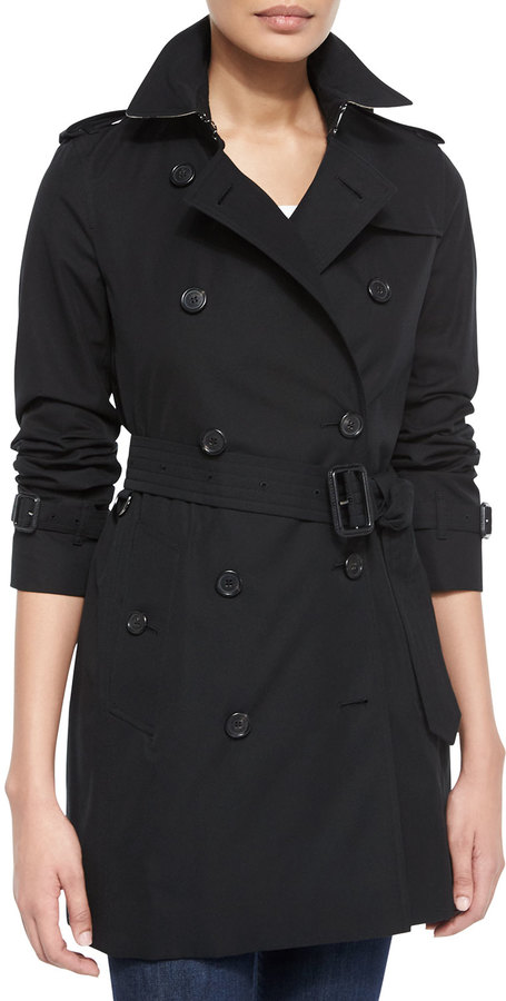 Burberry London Modern-Fit Long Woven Trenchcoat, Black • Burberry • $1,795