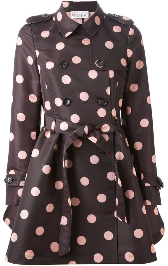 Red Valentino belted polka dot trench coat