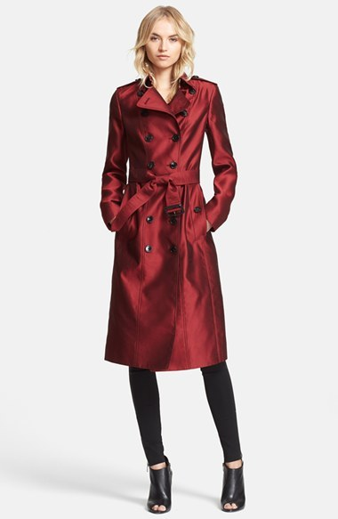 Burberry London 'Brackenhill' Belted Double Breasted Long Silk Trench Coat