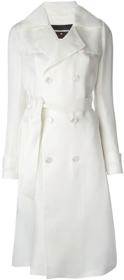 DSQUARED2 Belted Silk Trench Coat