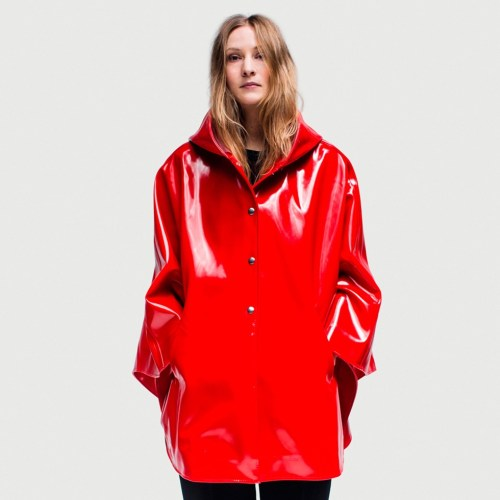 Womens Red Rubber Rain Coat - Cape