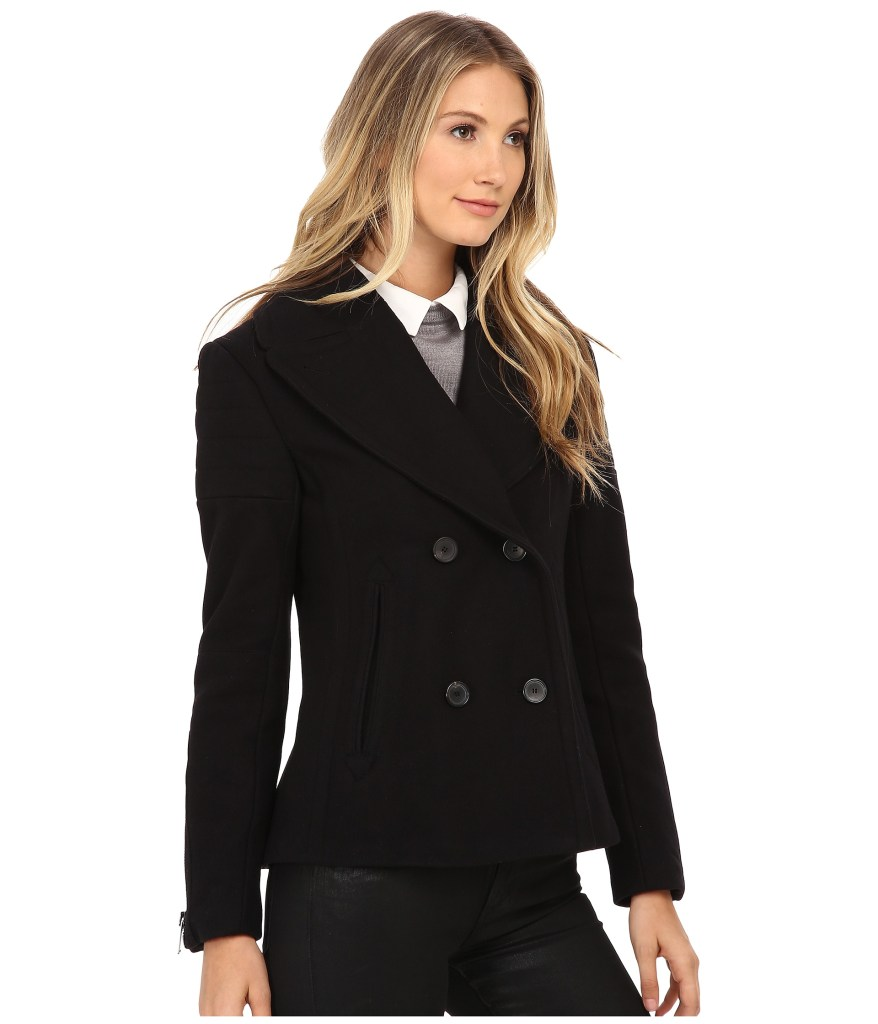 Nicole Miller Double Breasted Peacoat with Shoulder Detailing