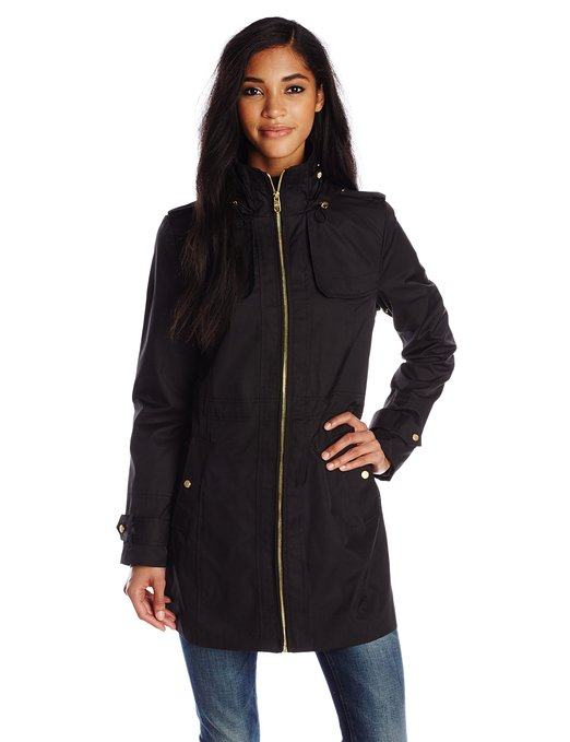 Cole Haan Women's Single Breasted Raincoat Anorak with Hood