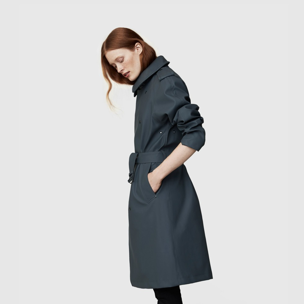 Rubberized Cotton Trench Coat For Women - Ture Charcoal