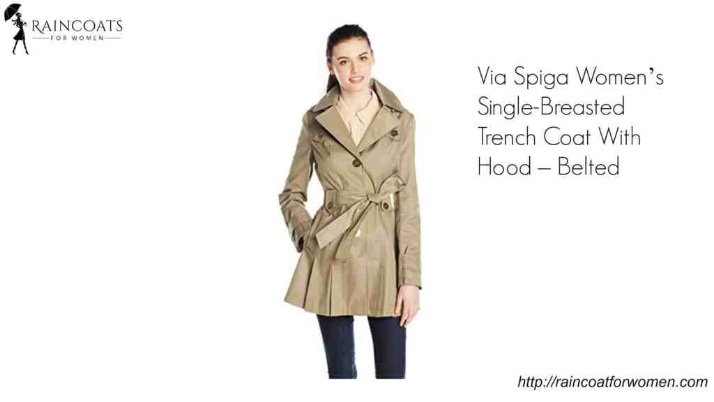 Via Spiga Women's Single-Breasted Trench Coat With Hood – Belted