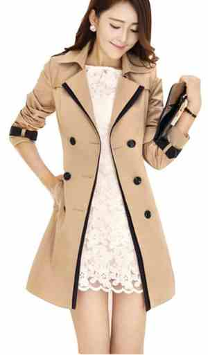 Uget Elegant Women's Long Trench Coat Jacket with Belt
