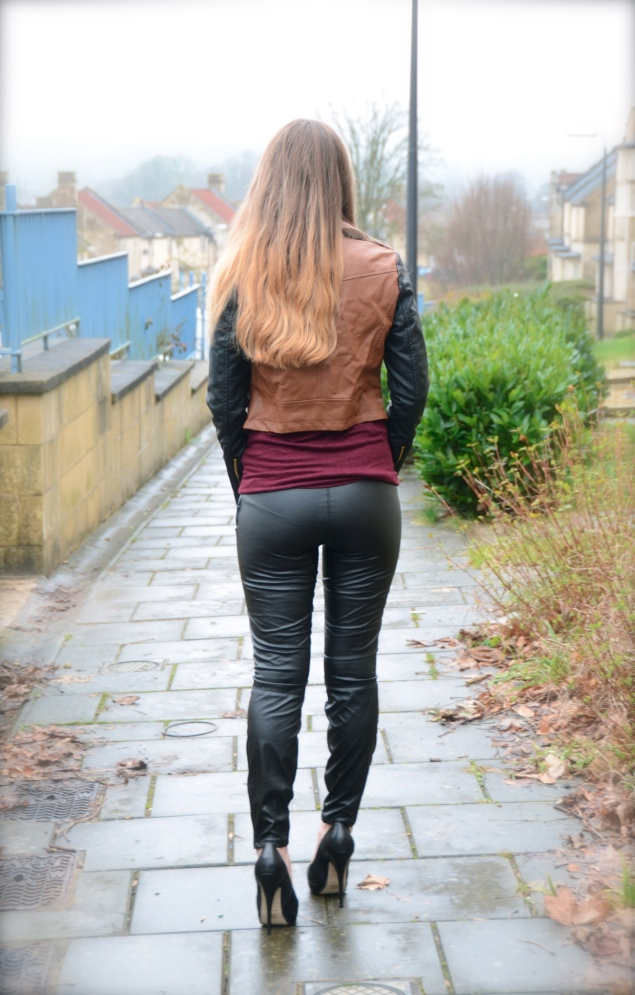 The Colour Block Faux Leather Jacket Raindrops Of Sapphire
