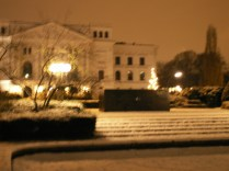 Schwarzer Block vor weißem Rathaus