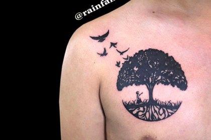 タトゥー トライバル 木 鳥
