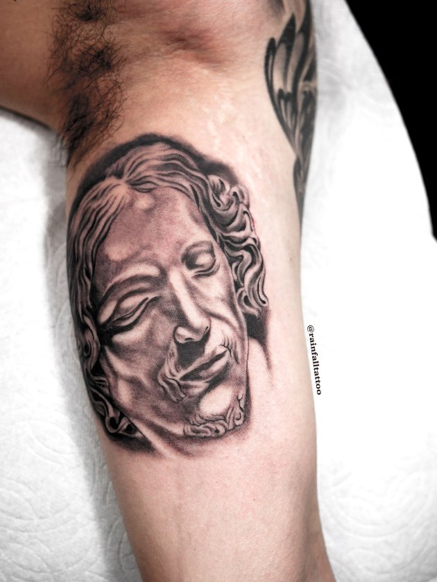tattoo blackandgrey christ pieta realistic
