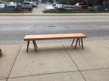 The nicest bus stop bench in Covington, KY. Guarding Chris' low Roman workbench as Roy went to get his van.
