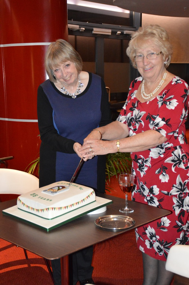 Our President, Edna North (Right) & our Vice President, Ruth Grimley, cut the Birthday Cake