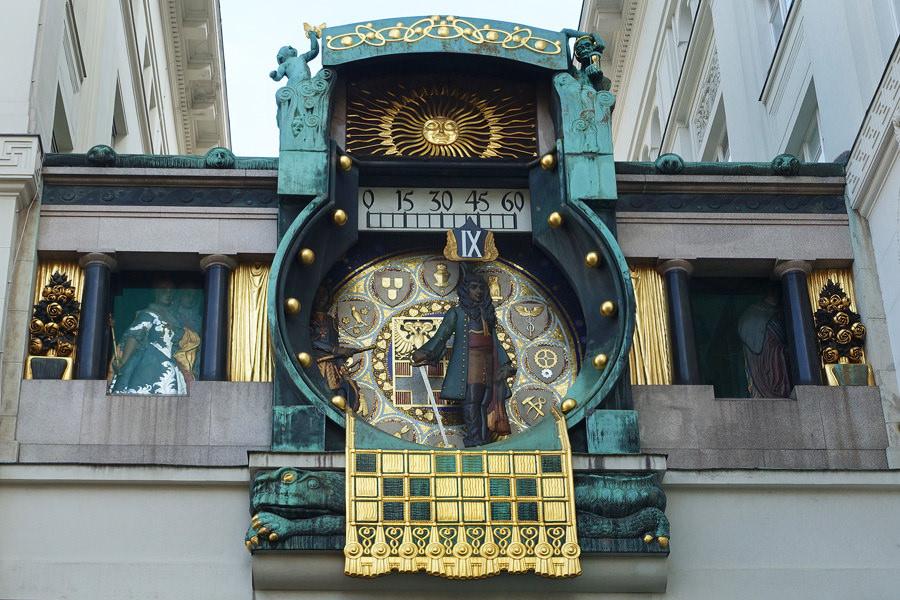 維也納安卡時鐘 Ankeruhr (安可鐘) 新藝術運動,百年音樂老鐘 + 婚禮噴泉 Vermählungsbrunne