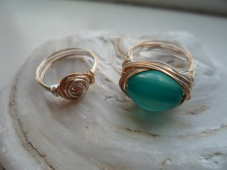 silver plated, gold wire rings