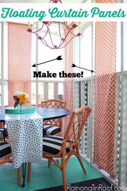DIY Floating Curtain Panels | DIY Outdoor Curtains | How to Make Outdoor Curtains | Outdoor Curtains for Porch or Patio | DIY Outdoor Decor