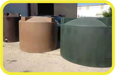 Rain Ranchers Poly-mart rainwater harvesting tanks ranging from 100 gallons to 2500 gallons.