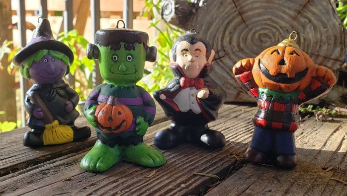 Finished painting of the Halloween ornaments (Witch, Frankenstein, Vampire, and Pumpkin Dude)