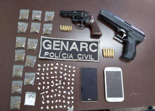 Homem é preso em flagrante com drogas e arma em Aparecida de Goiânia