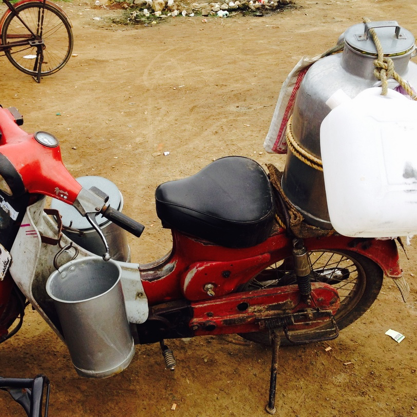 Milk being distributed on a scooty, #Chennai
