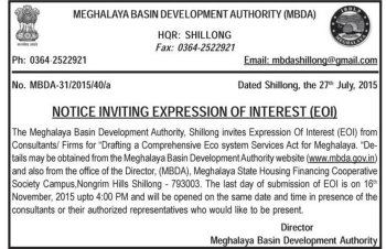 Advertisement by Meghalaya Basin Development Authority