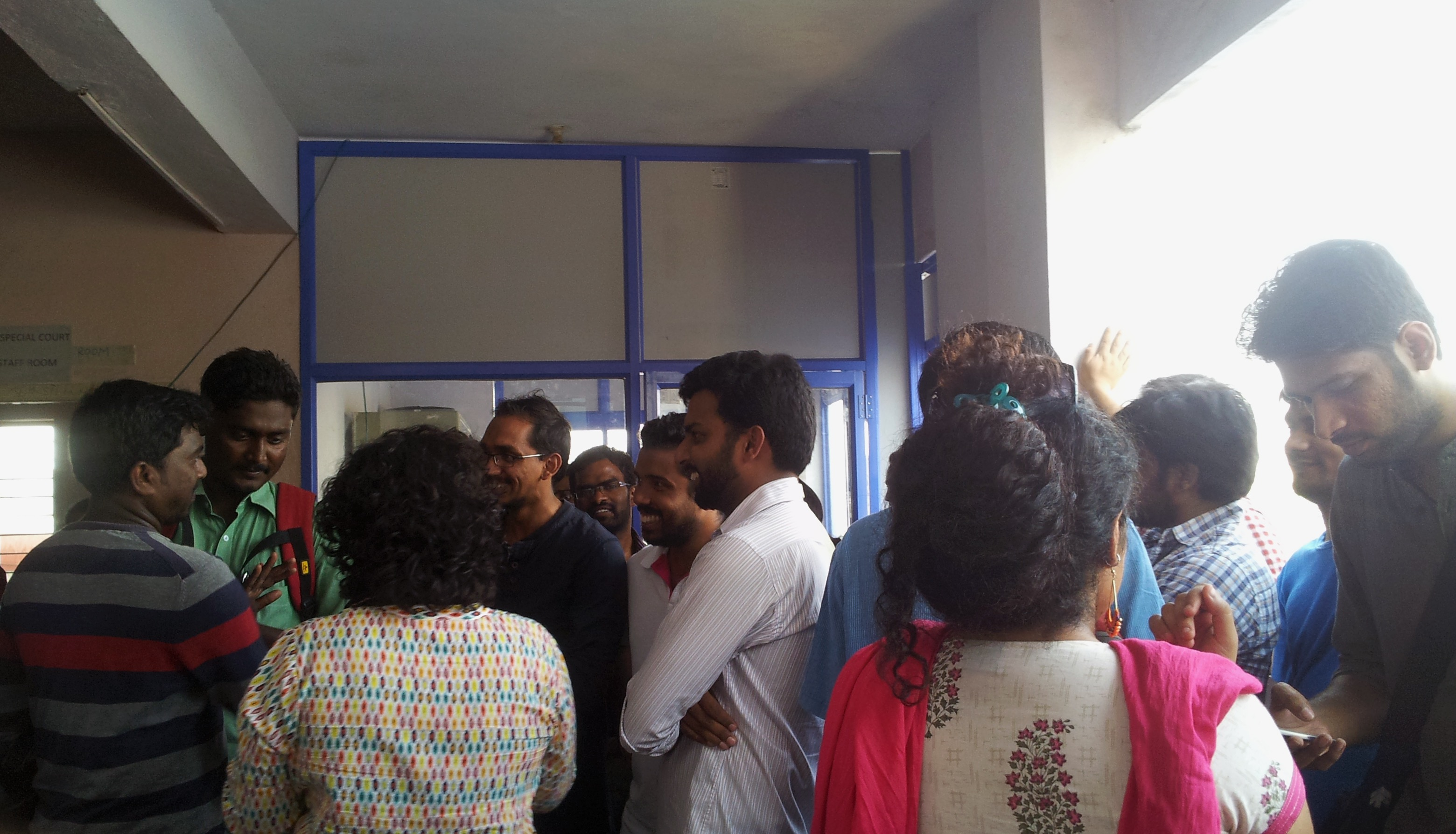 Families, friends, faculty and complete strangers show up in the Miyapur Court in solidarity with the 27 arrested