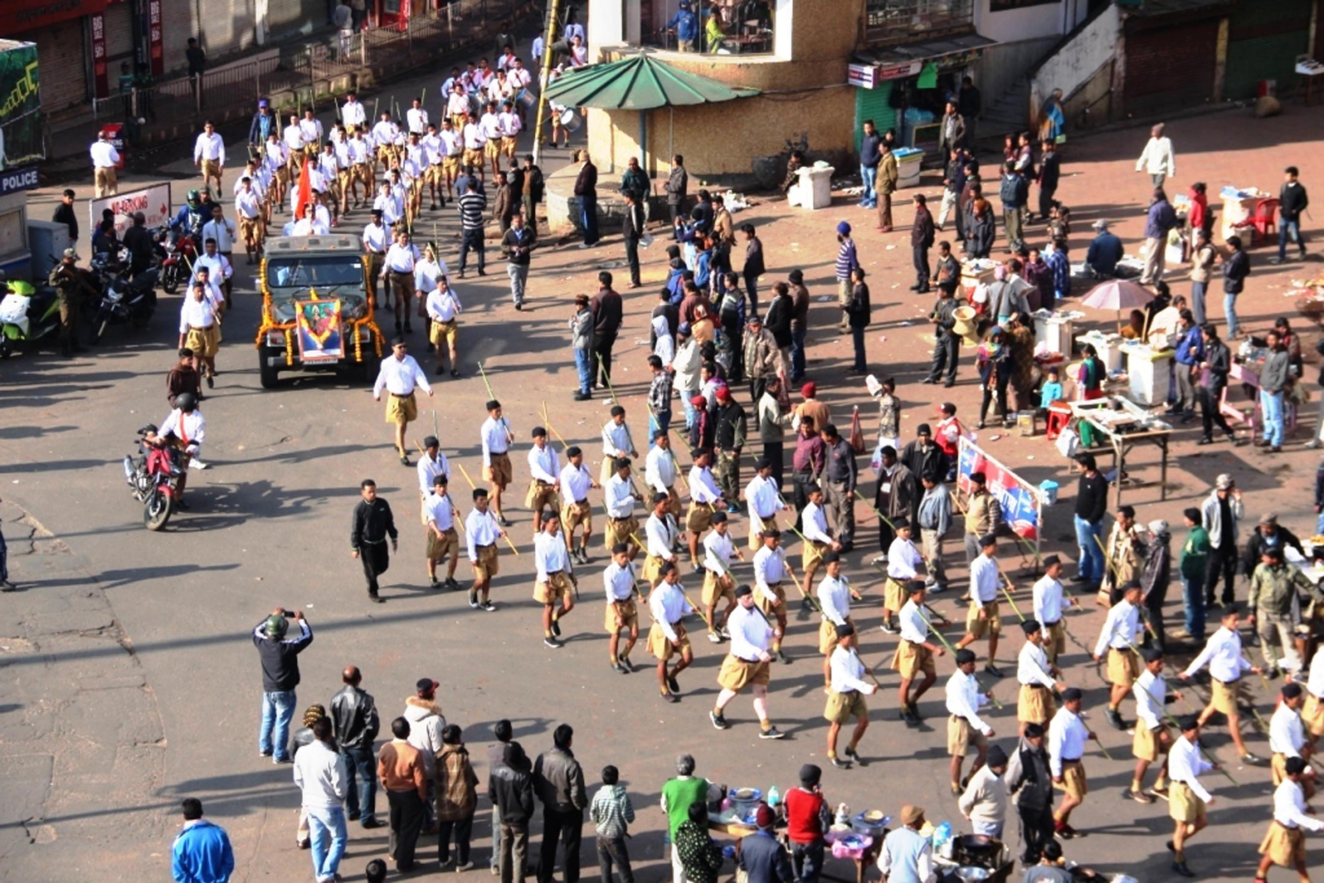 The RSS rally being taken out of Jhalupara area in Shillong on 23-01-16. Pix by UB Photos