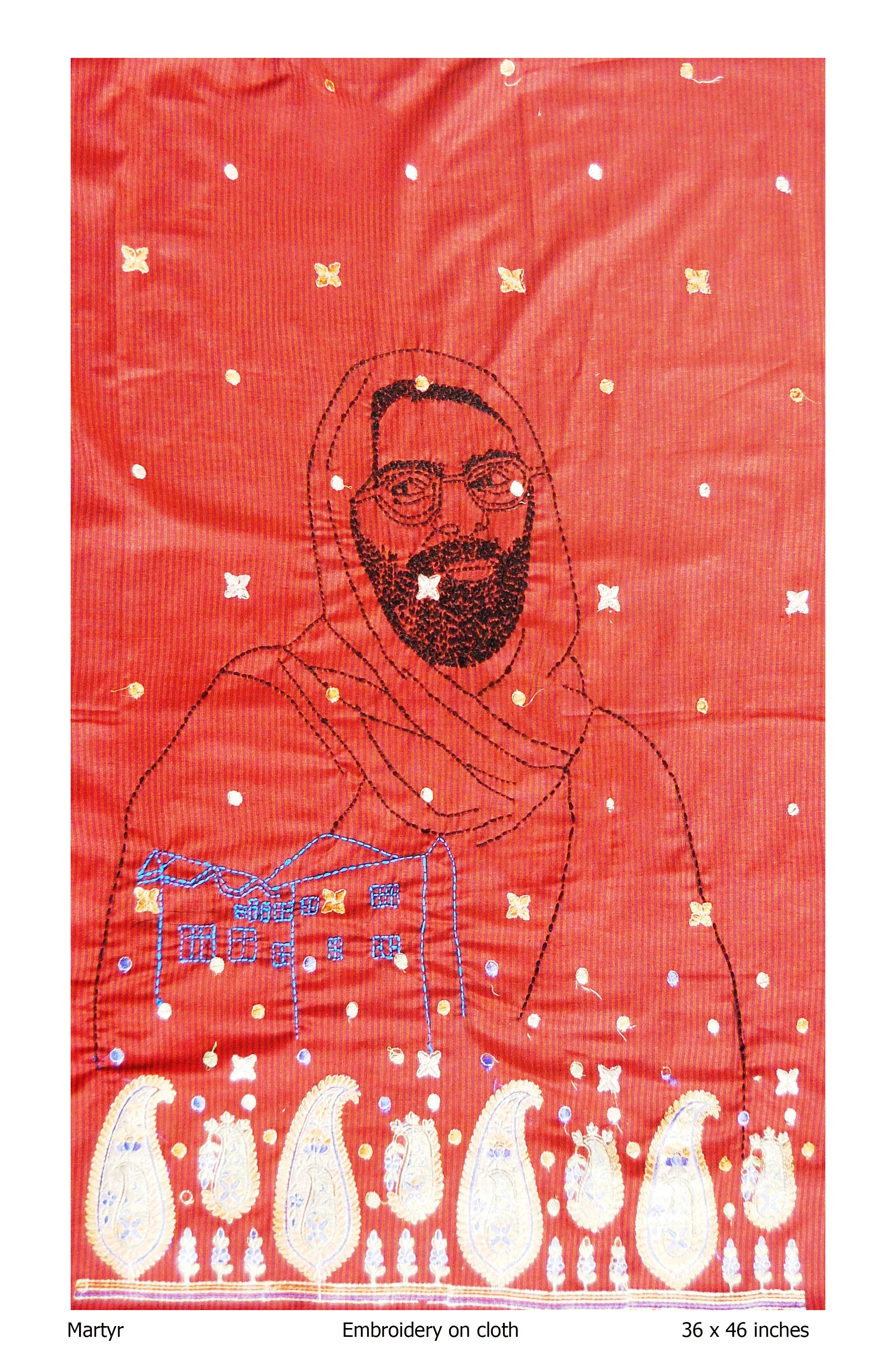 Martyr, Embroidery on cloth, Rollie Mukherjee