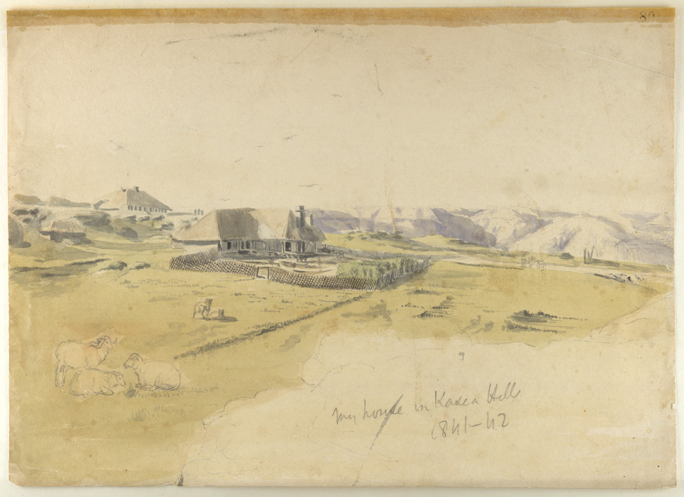 Pencil and water-colour drawing by Sir Henry Yule (1820-1889) of his bungalow in the Khasi Hills in Assam, dated between 1841 and 1842. The image is inscribed on the front in pencil: 'My house in the Kasea Hills, 1841-42.' Sir Henry served with the Bengal Engineers in India from 1840 to 1862 and was first posted to the Khasi Hills in Assam. He is perhaps best known for his work on the 'Hobson-Jobson' (London, 1886), a glossary of Anglo-Indian colloquial words and phrases.