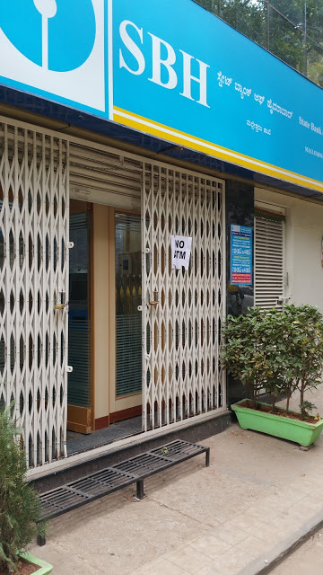 """State Bank of Hyderabad. Note the sign that says """"No ATM."""""""