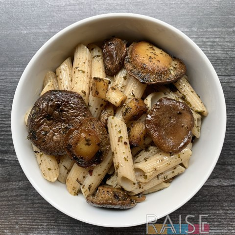 Gluten Free, Vegan Mushroom & Garlic Pasta by The Allergy Chef