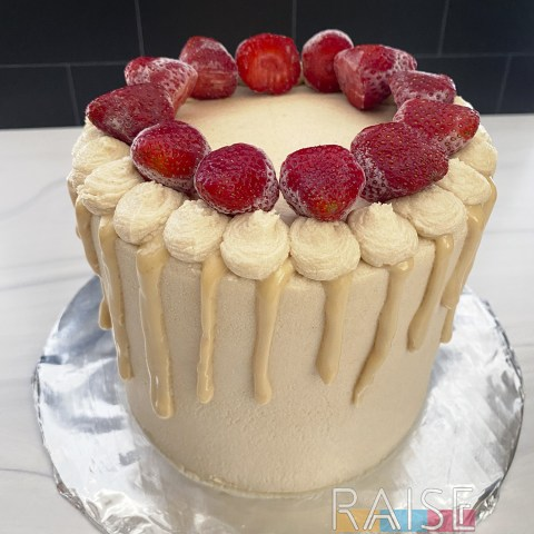 Corn Free, Paleo-ish, Gluten Free, Vegan, Top 8 Free Lemon Strawberry Cake by The Allergy Chef