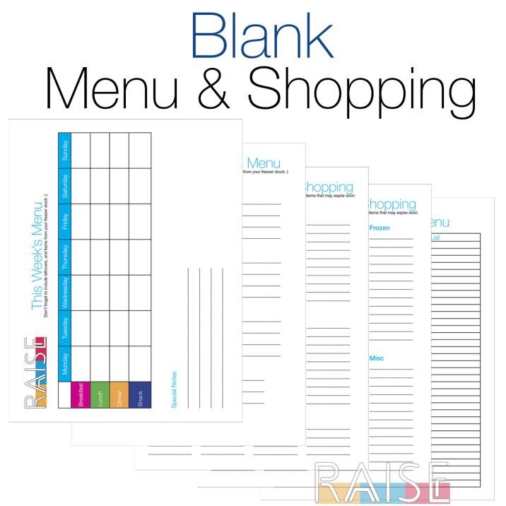 RAISE Blank Menu & Shopping