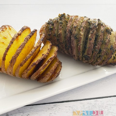 Gluten Free, Vegan, Top 8 Free Hasselback Potatoes by The Allergy Chef