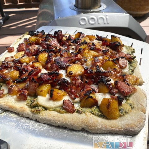 Gluten Free Sweet & Smoky Peach & Bacon Pizza Recipe by The Allergy Chef