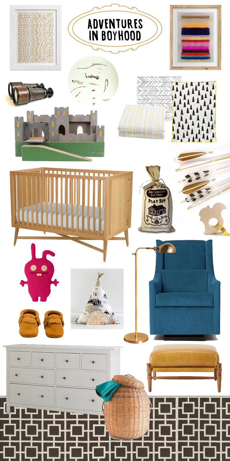 raised by design - baby boy nursery decor design plan