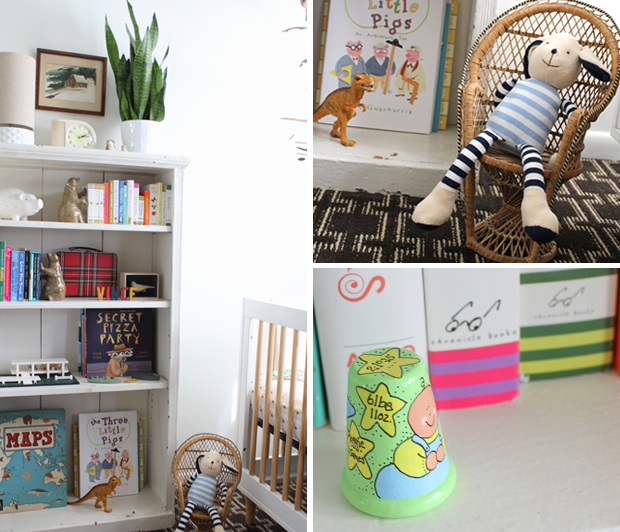 boy nursery book shelf styling