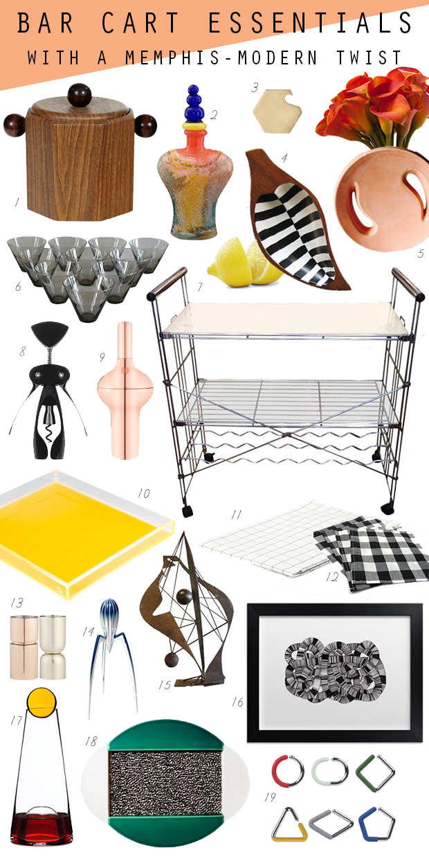 modern memphis group bar cart styling essentials