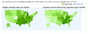 Maps of obesity and rap searches