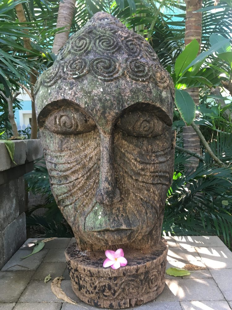 Goddess statue in a tropical garden