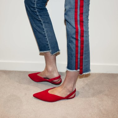 Red Flat Slingbacks