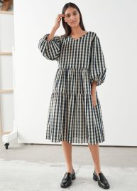 And Other Stories Voluminous Puff Sleve Midi Gingham