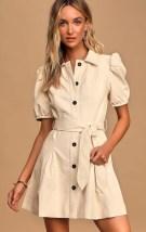 Lulu's Lelia Cream Vegan Leather Puff Sleeve Button-Front Mini Dress