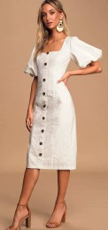 Lulu's Song Of Spring White Puff Sleeve Button-Front Midi Dress
