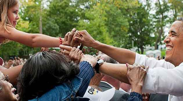Barack Obama at the University of Illinois during campaign for midterm elections in November.