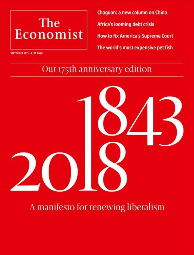 The Economist cover on liberalism in its 175 anniversary issue