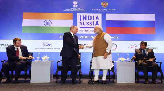Prime Minister Narendra Modi and President of the Russian Federation Vladimir V. Putin met for the 19th edition of the Annual Bilateral Summit in New Delhi on October 4-5, 2018. The two sides reaffirmed their commitment to the Special and Privileged Strategic Partnership between India and Russia.