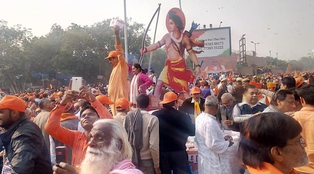 Hindu activists rallying in New Delhi for Ram Temple at Ayodhya. Photo by Dinesh Bisht.